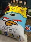 2016 New Angry Bird Queen King Bedding Set 4pc Cotton Bed Set RARE
