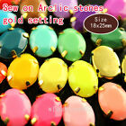 20 25x18mm oval Faceted Acrylic Sew On button crystal Rhinestone gold plate Gems