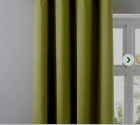 100% COTTON CANVAS CURTAINS in LEAF GREEN/ OLIVE/FORREST TAB TOPS  GREAT VALUE
