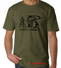 DANCES WITH TROUTS fly fishing rainbow trout OLIVE TSHIRT / BLACK PRINT S-XXL