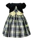 Bonnie Jean Little Girls Plaid Dress With Attached Jacket- Kids Holiday Dress