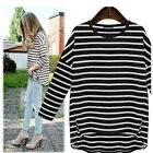Women Loose Round Neck Long Sleeve Striped Stretch T-shirt  Pullover