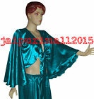 Teal Satin Flair Wrap Top Tie Belly Dance Top Choli Gypsy Costumes Tribal Haut