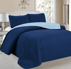 3 PCs Reversible Quilted Bedspread Coverlet Set + 2 Pillow Shams - 6 Colors! image