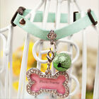 1pc Pet Necklace Dog Cat Waterproof Neck Collar With Safety Bell & Name Tags New