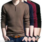 Mens V Neck Sweater Long Sleeve Shirt Sweaters Wool Casual Cashmere Knit New