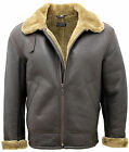 Men's Ginger B3 Shearling Sheepskin World War 2 Bomber Leather Flying Jacket