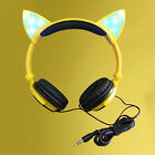 Fashion Brookstone Cat Ear Gaming Mic Headphones LED Music Lights Rechargeable