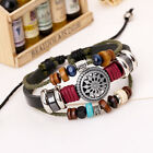 Women Men Top Leather Handmade Punk Bracelet Genuine Leather Wristband