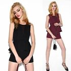 2pcs Set Round Neck Sleeveless Peplum Top Shorts Hot Pants Women's Summer Suit