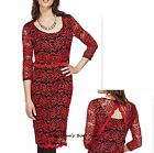 PER UNA RED/BLACK FLORAL LACE MESH EMBROIDERED PARTY OCCASION DRESS SZ 8-22  NEW