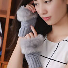 Fashion Women Winter Warm Faux Rabbit Fur Hand Wrist Gloves Fingerless Mittens