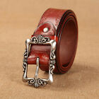 New Upscale Alloy Buckle 100% Genuine Leather Printed Casual Belts Women's Joker