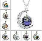 Owl Cartoon Choker Necklaces Glass Galaxy Lovely Moon Pendant Silver Chain Gifts
