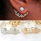 Newly Double Sided Lotus Crystal Pierced Ear Stud Earrings Women Jewelry 1 Pair