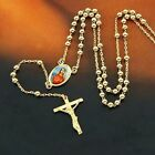"""Lucky 9K Gold Filled Rosary Pray Bead Blessed Mary Cross Necklace 24"""",Z1949"""