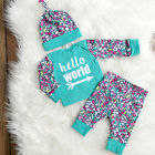 Newborn Toddler Kids Baby Girls Outfit Clothes T-shirt Hat Tops + Pants 3PCS Set
