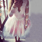 Women Long Sleeve Lace Crochet Silm Evening Party Wedding Cocktail Mini Dress