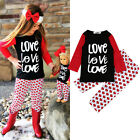 Toddler Kid Baby Girls Cotton T-shirt Tops +Heart Pants 2PCS Outfits Set Clothes