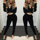 Womens Crop Tops & Pants Slim Long Sleeve Bodycon Casual Outfit Two Piece