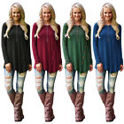 Womens Crew neck Large Solid Tops Loose Long Sleeve T-Shirt Casual Blouse New