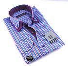 Brand New Mens White Blue & Purple Striped Double Collar Shirt Slim Fit Formal