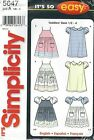 Simplicity 5647 Toddlers' Dress, Pinafore or Sundress 1/2 to 4  Sewing Pattern