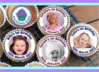 PERSONALISED PHOTO CUPCAKE TOPPER 24X4CM WAFER,ICING OR PRECUT WAFER