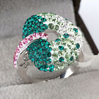 B1-R553 Fashion Cocktail Party Heart Ring 18KGP Crystal Size 6-9