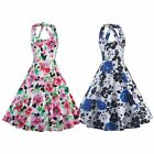 Women Vintage Style Floral Printed Swing Pinup Cocktail Party Prom Halter Dress