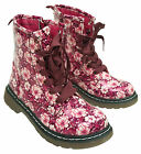 Girls Pink Floral Lace Up Flower Zip Winter Ankle Boots UK Shoe Sizes 8 to 5