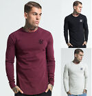 Mens Sik Silk Long Sleeve Gym Curve Hem Soft Touch T Shirt Tee Top
