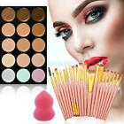 15 Colors Contour Concealer Palette + 20PC BRUSH Set Face Cream Makeup + Sponge