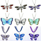 Charm Enamel Pendant Necklace Women Lucky Jewelry Crystal Dragonfly Butterfly