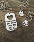 Lil Brother Bro Little Big Sister Gift Dog Tag Necklace SET Custom Personalized