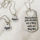 Big Brother, Little Sisters Gift Dog Tag Necklace SET Custom Personalized Names