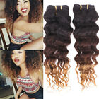 4 bundles Brazilian Virgin Ombre Curly Wave Human Hair Weaves Mixed Length