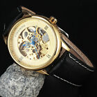 New Fashion Men Women Unisex Carve Automatic Mechanical Watch Leather Strap Gift