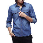 Men's Classic Casual Denim Shirts Long Sleeve Button Up Jeans Tops Outfits Blue
