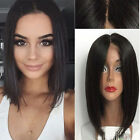 """8"""" 10"""" 12"""" Silk Straight Full Lace 100% Human Hair Bob Short Lace Front Wigs"""