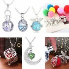 Chic Women Oil Diffuser Moon Locket Perfume Aromatherapy Necklace + 6PCS Cottons