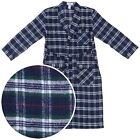 New Navy and Green Plaid Men Bathrobe Flannel Cotton Blend Pockets Size X-Large
