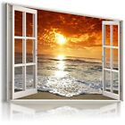 3D SUNSET Window View Canvas Wall Art Picture Large SIZES ! READY TO HANG X