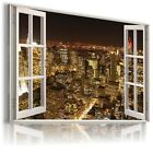 3D  NEW YORK Window View Canvas Wall Art Picture Large SIZES W13