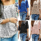CH Sequin Womens Lady Sparkle Glitter Tank 3/4 Sleeve Coctail Party Top T-Shirt