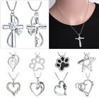Engraved Heart Horse Footprint Cross Crystal Pendant Necklace Womens Jewellery