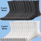 Men Wolverine Socks 6 Pairs Cotton Steel Toe Boot Crew SOCK Black White L 10-13