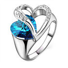 ocean blue love heart crystal ring white gold wedding lover Unique Design CHIC