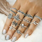 Vintage Rings Silver Gold Plated Crystal Above Knuckle Ring Band Midi Ring Set