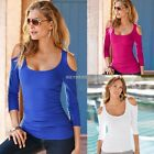 New Sexy Women Long Sleeve T Shirt Blouse Ladies Summer Off Shoulder Casual K0E1